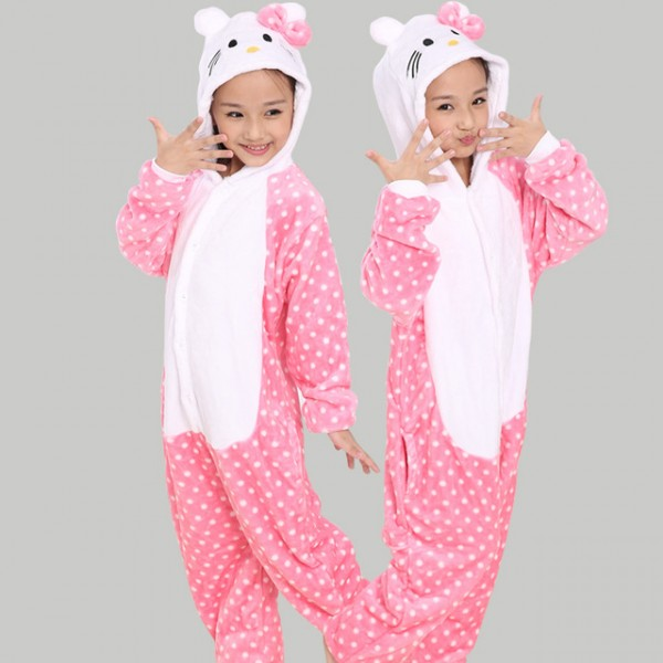 Pink Kitty Cat Animal Jumpsuit Costume for Kids