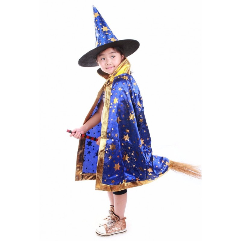 Fairy Tale Witch Wizard Gown Kids Costume Dress For