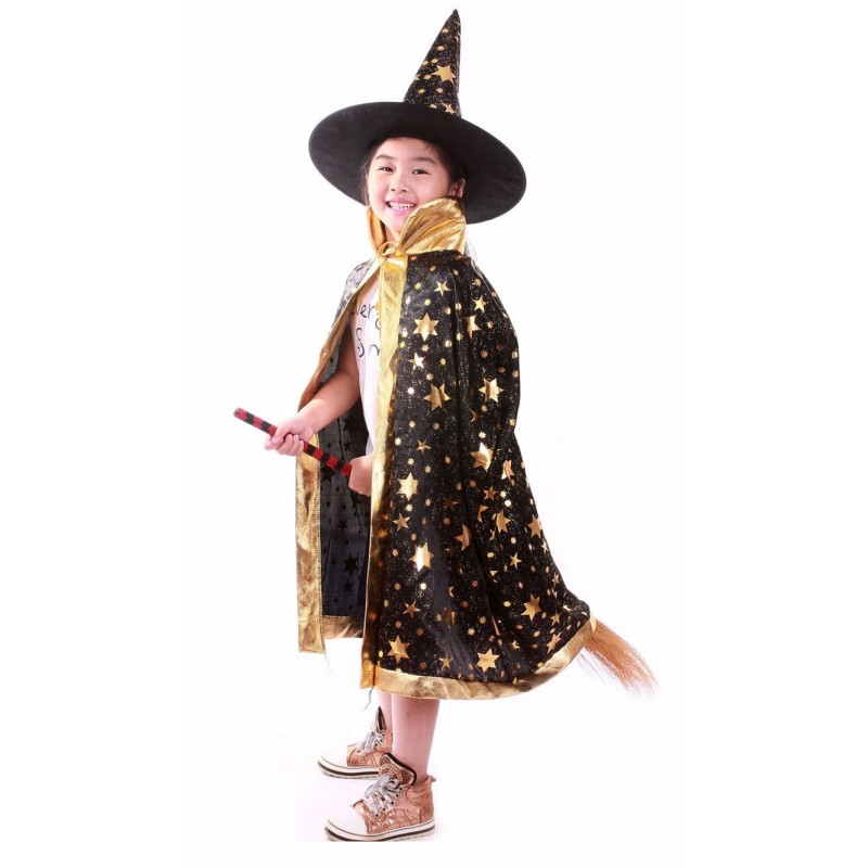 Fairy Tale Witch Wizard Gown Kids Costume Dress for Halloween Party