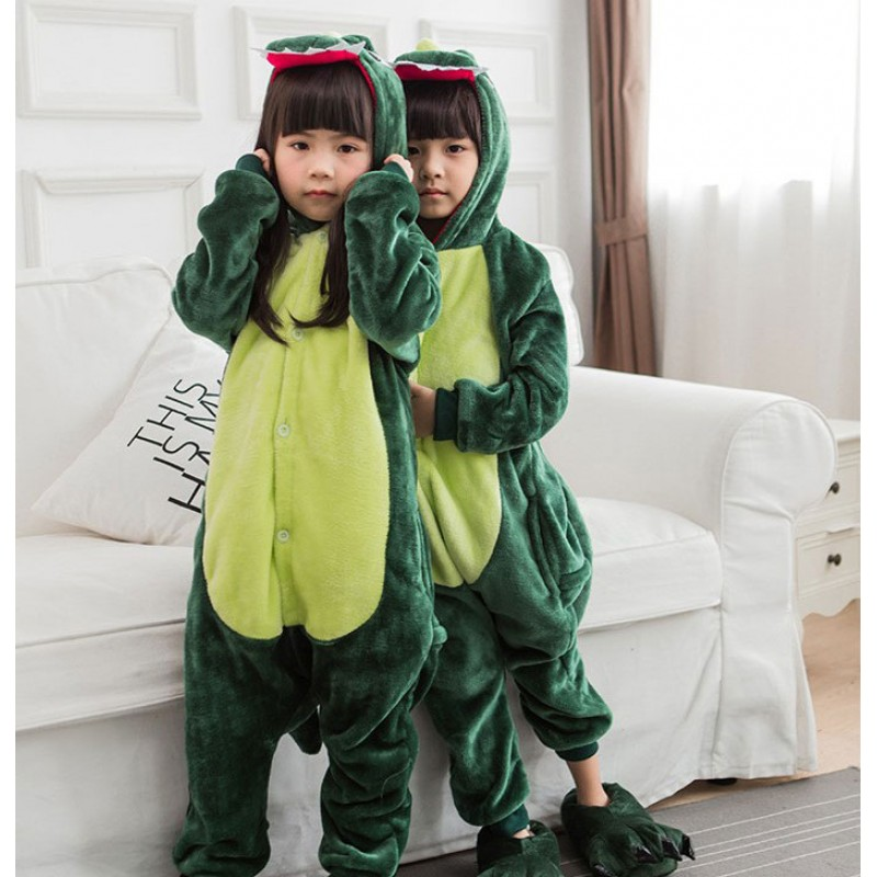 bb278bd2489 Green Dinosaur Animal Jumpsuit Costume for Kids School Play