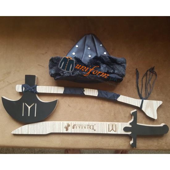3 Pcs Set Ertugrul Kit Including Axe Sword And Hat