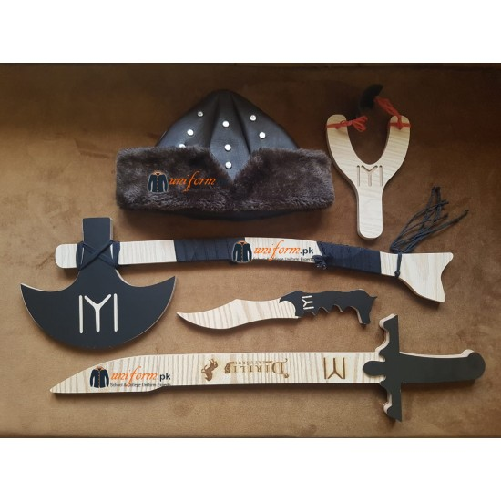 5 Pcs Set Ertugrul Kit Including Hat Axe Sword Dagger And Slingshot