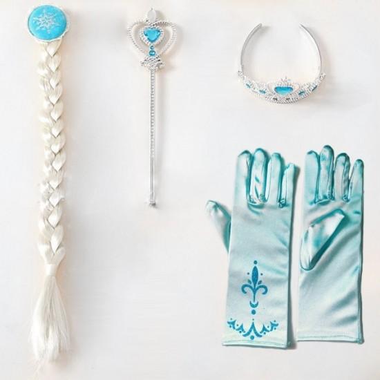 Elsa Anna Frozen Girls crown hair wig extension magic wand